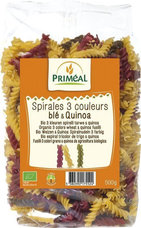 Primeal Primeal Organic fusilli 3 kleur tarwe quinoa (500 gram)