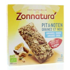 Zonnatura Pit en notenreep amandel & kokos 25 gram (3 stuks)
