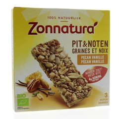 Zonnatura Pit en notenreep pecan vanille 25 gram (3 stuks)
