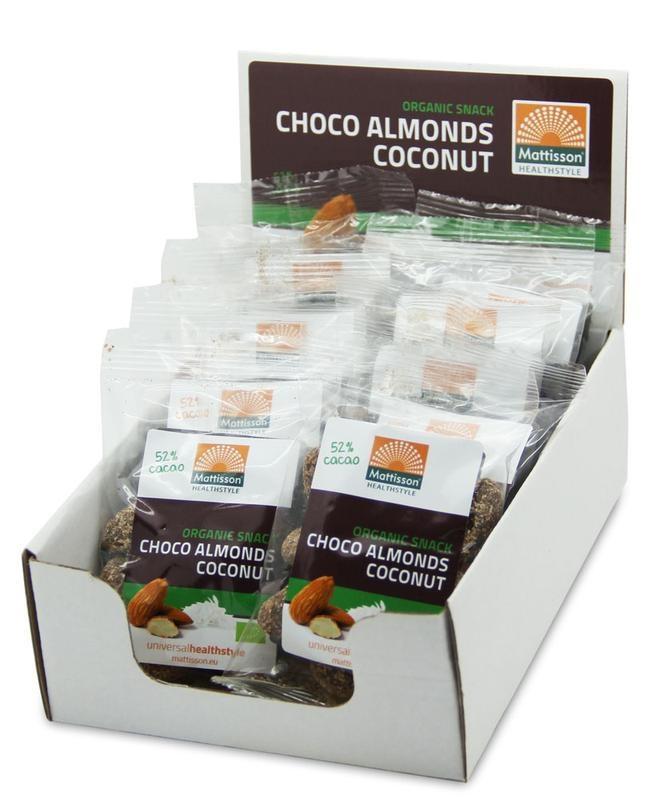 Mattisson Mattisson Amandelen snack pure chocolade & cocos 35 gram (10 stuks)