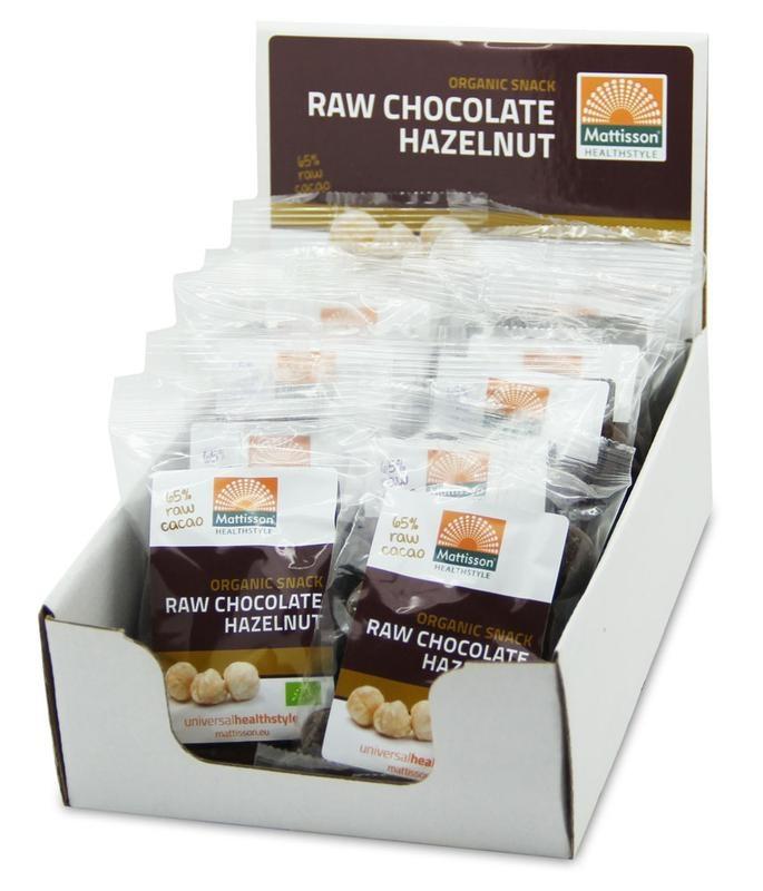 Mattisson Mattisson Hazelnoten snack raw choco 35 gram (10 stuks)