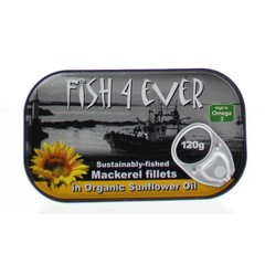 Fish 4 Ever Makreelfilet in zonnebloemolie (120 gram)