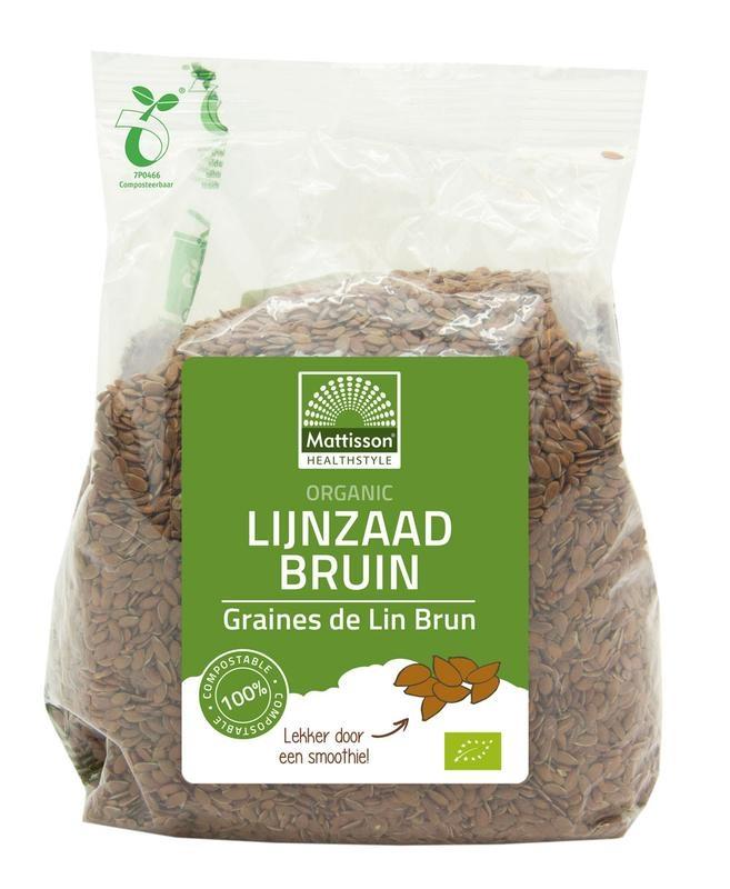 Mattisson Mattisson Organic lijnzaad bruin heel omega 3 (405 gram)
