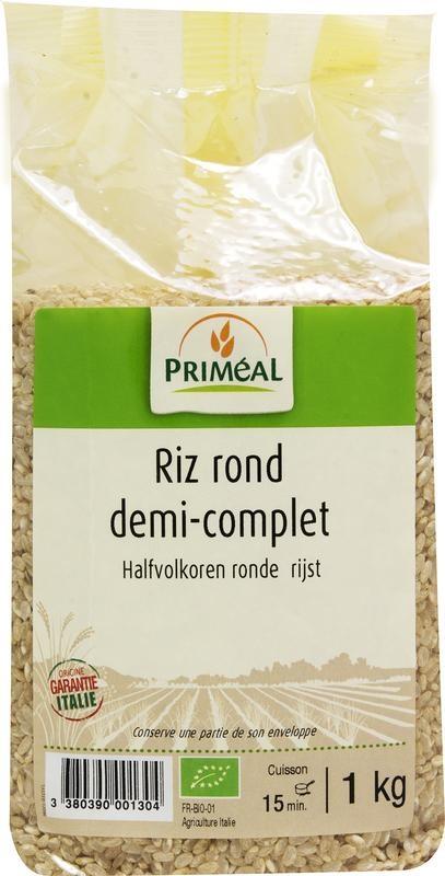 Primeal Primeal Halfvolkoren ronde rijst (1 kilogram)