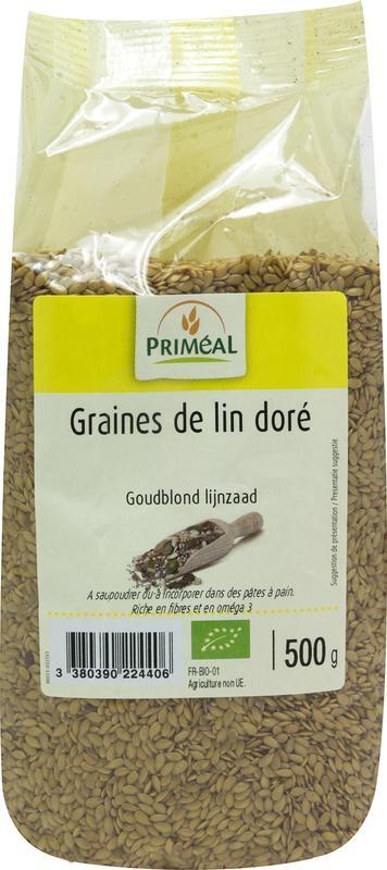 Primeal Primeal Lijnzaad goudblond (500 gram)