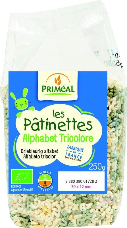 Primeal Primeal Pasta driekleurig alfabet (250 gram)