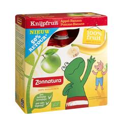 Zonnatura Knijpfruit appel/banaan kikker 85 gram (4 stuks)