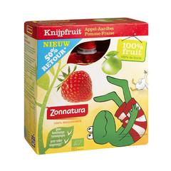 Zonnatura Knijpfruit appel/aardbei kikker 85 gram (4 stuks)