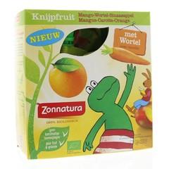 Zonnatura Knijpfruit groente mango/wortel/sinas kikker 85g (4 stuks)