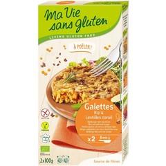 Ma Vie Sans Rijstburger met rode linzen bio - glutenvrij 100g (2 stuks)