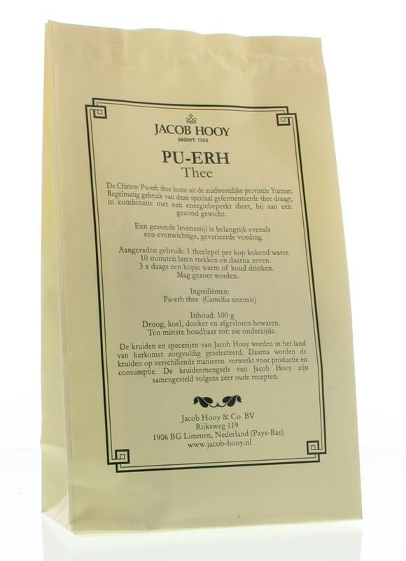 Jacob Hooy Jacob Hooy Pu erh thee (geel zakje) (100 gram)