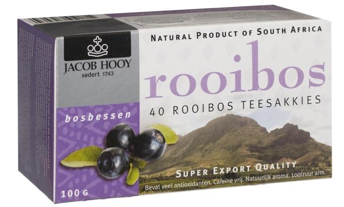 Jacob Hooy Jacob Hooy Rooibosthee bosbessen (40 zakjes)