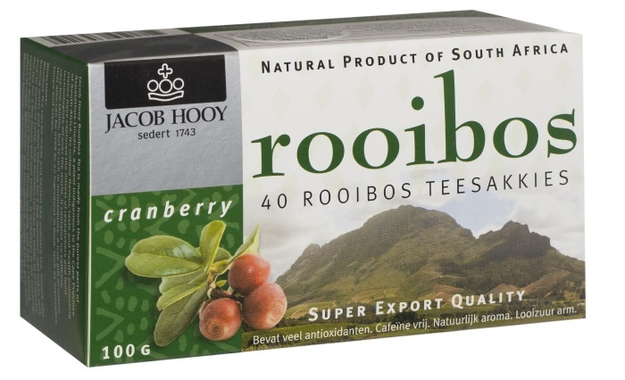 Jacob Hooy Jacob Hooy Rooibosthee cranberry (40 zakjes)