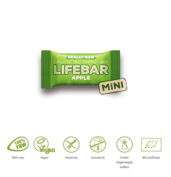 Lifefood Lifefood Mini lifebar energiereep appel raw & bio (25 gram)