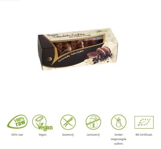 Lifefood Lifefood Cashew creme chocolade koekjes raw & bio (80 gram)