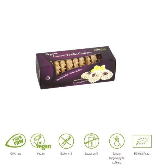 Lifefood Lifefood Citroen vanille koekjes raw bio (80 gram)