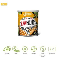 Lifefood Crawnchies stapelchips pompoen kurkuma raw & bio (30 gram)