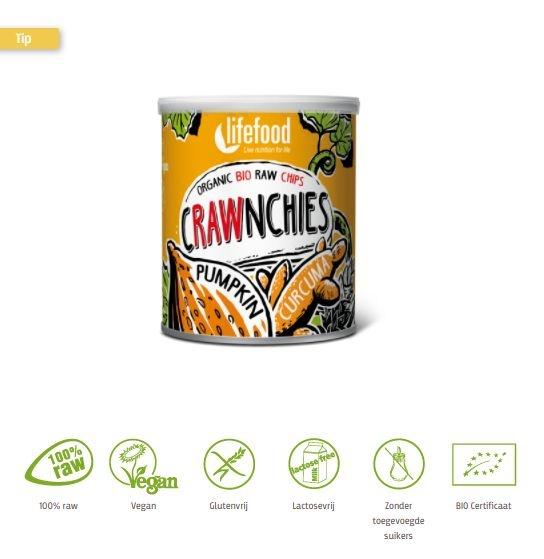 Lifefood Lifefood Crawnchies stapelchips pompoen kurkuma raw & bio (30 gram)