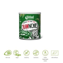Lifefood Crawnchies stapelchips spinazie knoflook raw & bio (30 gram)