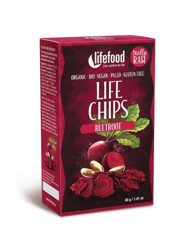 Lifefood Groentechips rode biet raw & bio (40 gram)