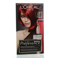 Loreal Feria preference 6.66 pure scarlett power (1 set)