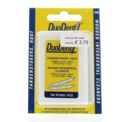 Duodent Tandenstoker hout fine/extra fine dubbelzijdig (100 stuks)