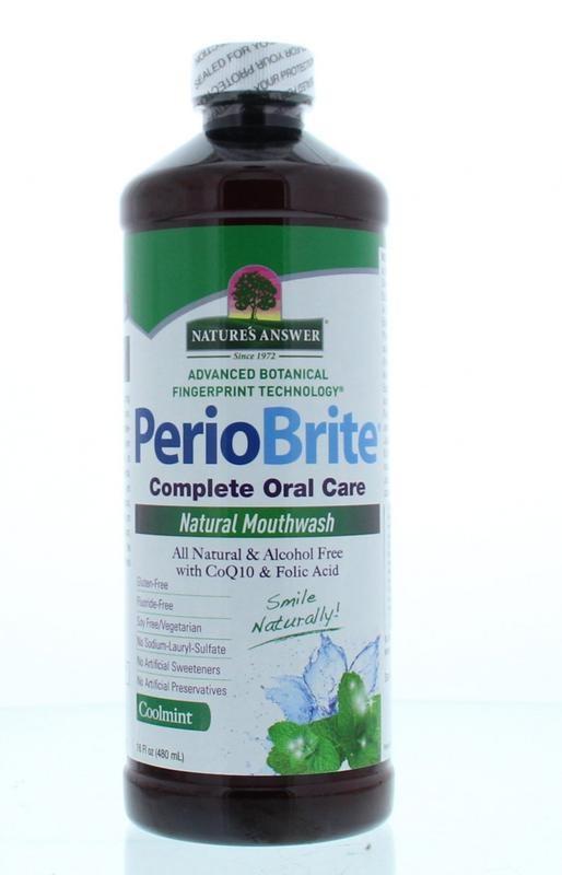 Natures Answer PerioBrite natuurlijke mondwater 25 kruiden en Q10 (480 ml)