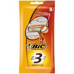 BIC 3 Sensitive pouch wegwerpscheermesjes (8 stuks)