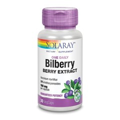 Solaray Bilberry blauwe bosbes 160 mg (30 vcaps)