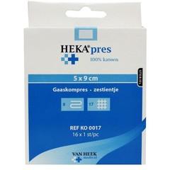 Heka Hydrofiel gaaskompres 5 x 9 (16 stuks)