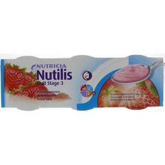 Nutricia Nutilis fruit stage 3 aardbei 3x150 gram (1 stuks)