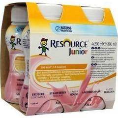 Resource Junior aardbei 200 ml (4 stuks)