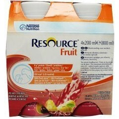Resource Fruit peer kers 200 ml (4 stuks)