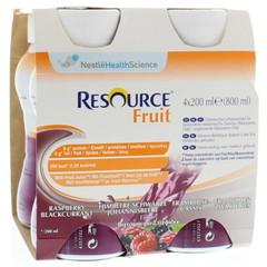 Resource Fruit framboos zwarte bes 200 ml (4 stuks)