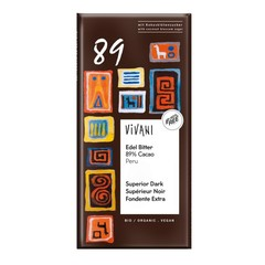 Vivani Chocolade puur superieur 89% Peru (80 gram)