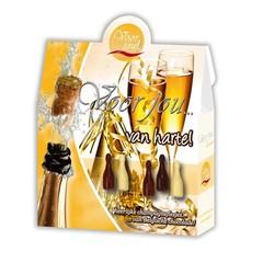 Voor Jou! Cadeau doos champagneflesjes van harte (100 gram)