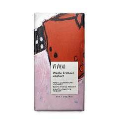 Vivani Chocolade wit aardbei yoghurt (80 gram)