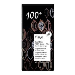 Vivani Chocolade puur superieur 100% + cacao nibs (80 gram)