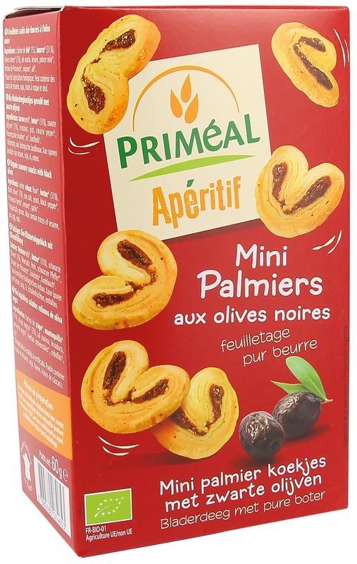 Primeal Primeal Aperitive palmiers zwarte olijf (60 gram)