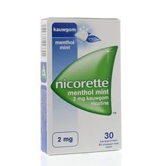 Nicorette Kauwgom 2 mg menthol mint (30 stuks)