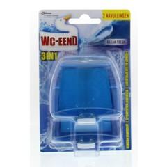 WC Eend Blok 3 in 1 ocean fresh navul 55 ml (2 stuks)