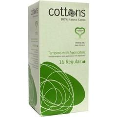 Cottons Tampons met inbrenghuls regular (16 stuks)