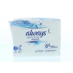 Always Maandverband essentials sensitive night (12 stuks)