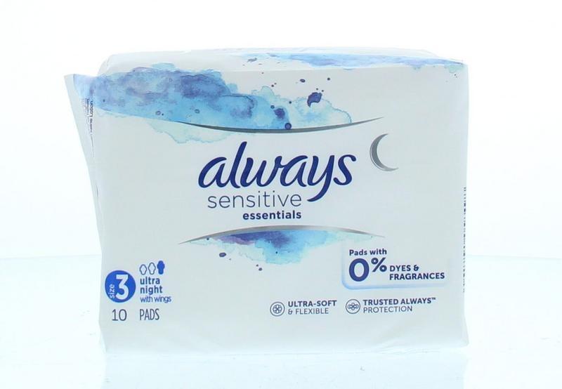 Always Always Maandverband essentials sensitive night (12 stuks)
