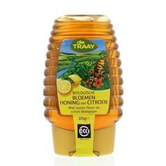 Traay Bloemenhoning met citroen knijpfles bio (375 gram)