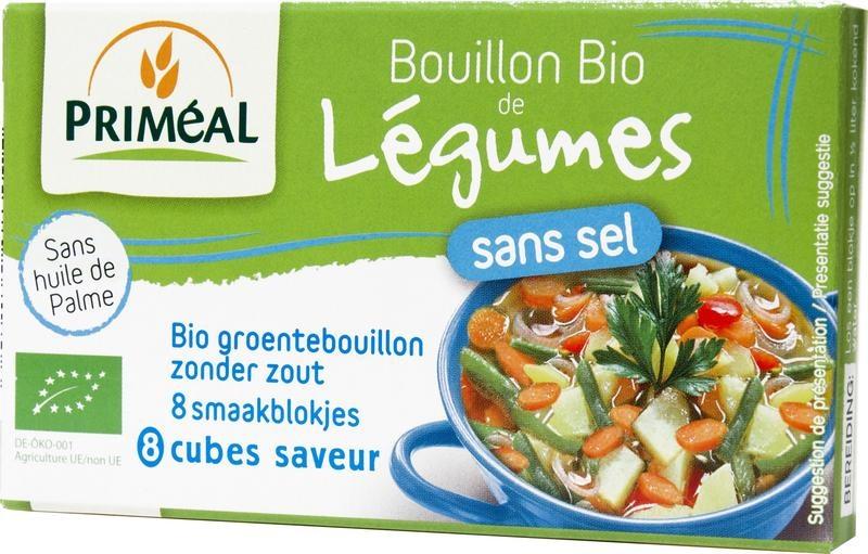 Primeal Primeal Groentebouillon blokjes zonder zout 9 gram (8 stuks)