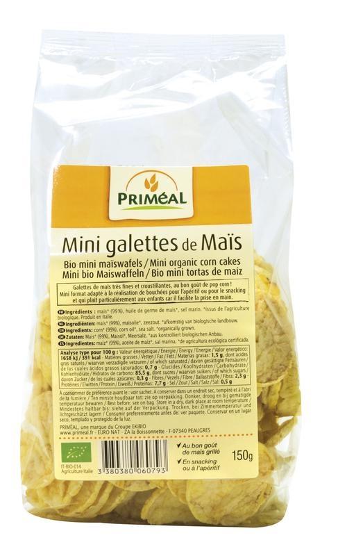 Primeal Primeal Bio mini maiswafels (150 gram)