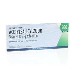 Teva Acetylsalicylzuur 500 mg UAD (20 tabletten)