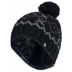 Heat Holders Mens chunky jacquard pom pom hat helsinki black (1 stuks)