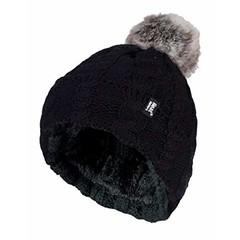 Heat Holders Ladies turnover cable hat with pom pom black (1 stuks)